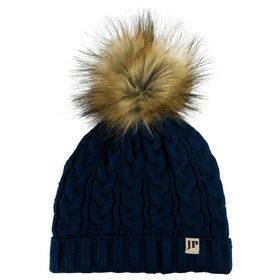 Ladies Cable Knit Bob Hat  Navy