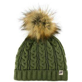 Ladies Cable Knit Bob Hat  Olive