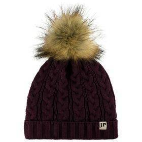 Ladies Cable Knit Bob Hat  Burgandy