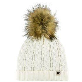 Ladies Cable Knit Bob Hat  Off White