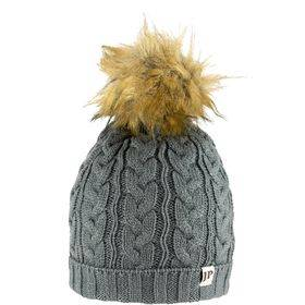 Ladies Cable Knit Bob Hat  Grey
